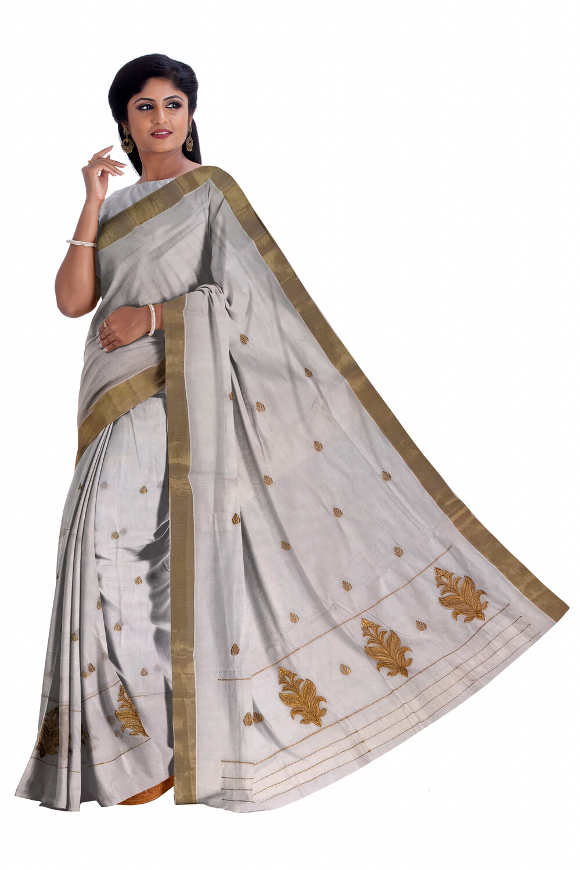 Cotton Mekhela Chador with Golden Zari work