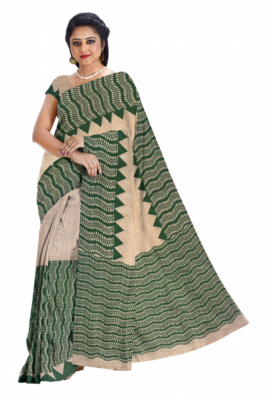 Ready to wear Handloom Cotton Mekhela Chador with Hand printed Design