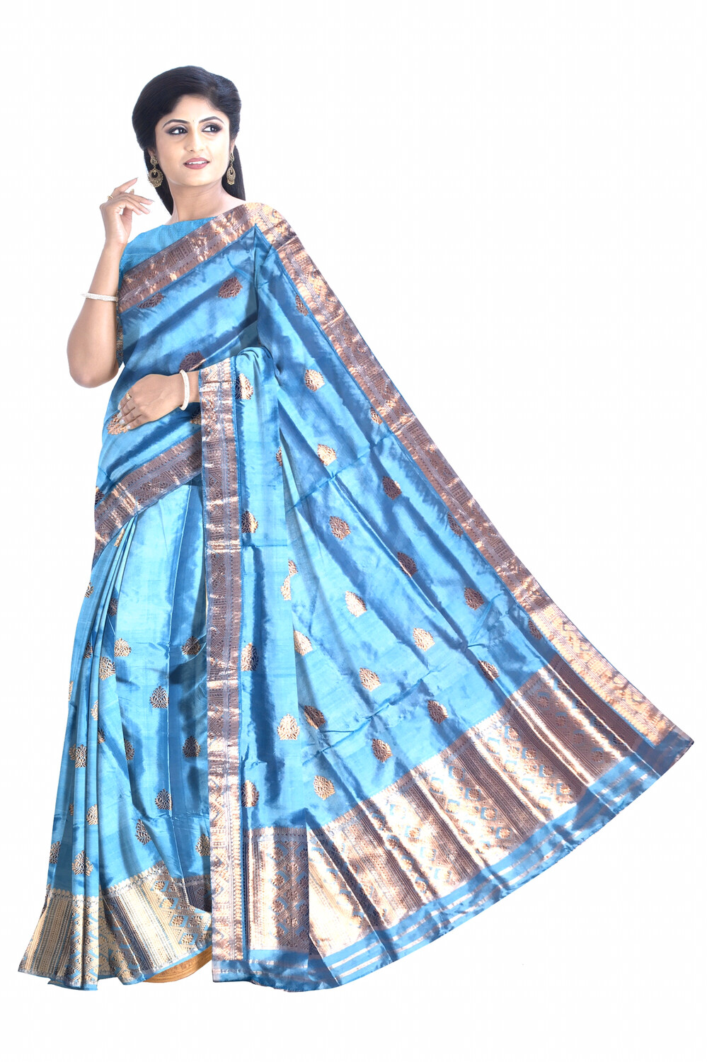 Gorgeous Ready to wear 100% pure Paat (Mulberry Silk) Mekhela sador with heavy  guna work including Blouse piece and side pari