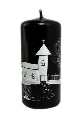 Musta-valkoinen kynttilä 13cm
