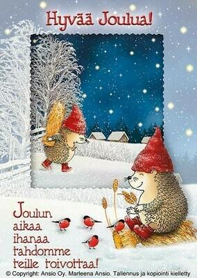 Joulukortti Marleena Ansio: suloiset siilit