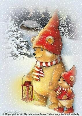 Joulukortti Marleena Ansio: nallet