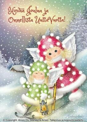 Joulukortti Marleena Ansio: enkelit