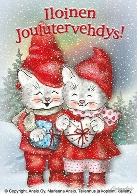 Joulukortti: kissapariskunta lahjojen kanssa