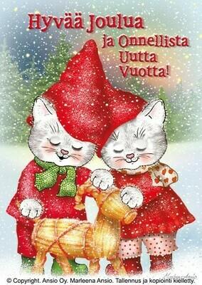 Joulukortti Marleena Ansio: kissapariskunta