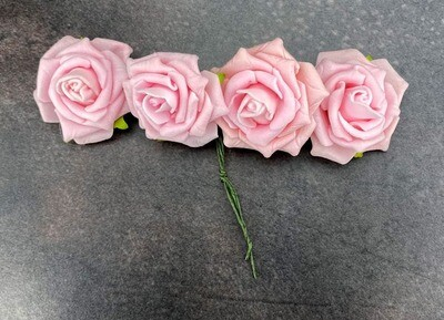 Vaaleanpunainen askarteluruusu 4kpl