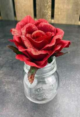 Kimalleruusu kukkapää, punainen