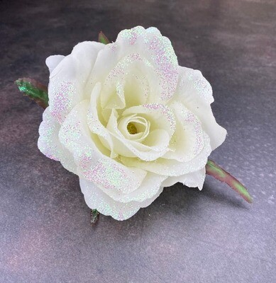 Kimalleruusun kukkapää, valkoinen