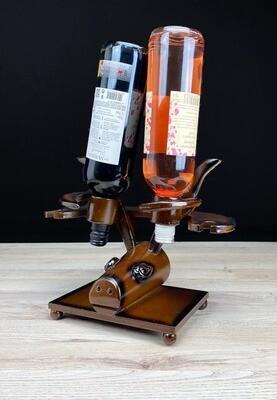 Viinipulloteline härkä + 2 lasipaikkaa