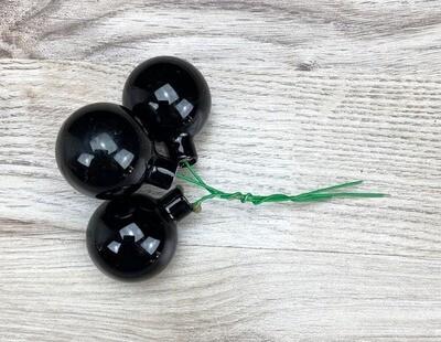 Lasipallot 3kpl, kiiltävä musta