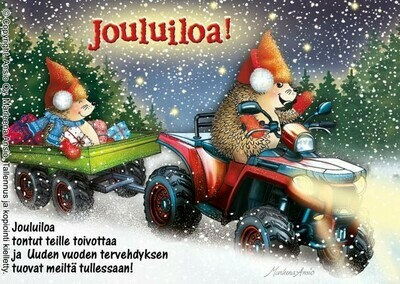 Joulukortti Marleena Ansio: siilit mönkkäriajelulla