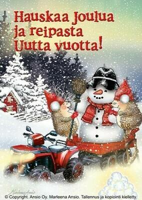 Joulukortti Marleena Ansio: siilit lumiukon kanssa
