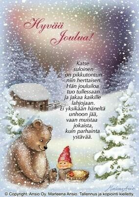 Joulukortti Marleena Ansio: nalle ja tonttu