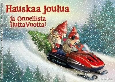 Joulukortti Marleena Ansio: kelkkailevat siilit