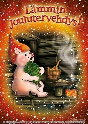 Joulukortti Marleena Ansio: saunova possu