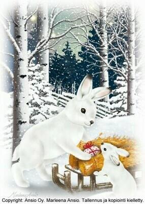 Joulukortti Marleena Ansio: suloiset puput