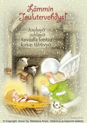 Joulukortti Marleena Ansio: enkeli