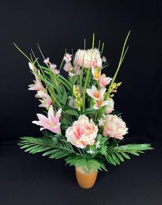 Silkkikukkakimppu, kerma/vaaleanpunainen
