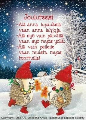 Joulukortti Marleena Ansio: siilit