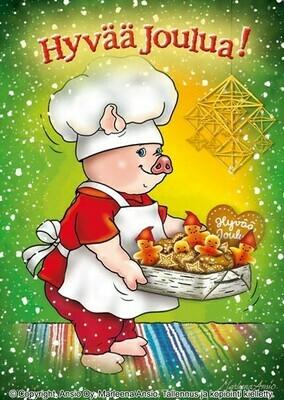 Joulukortti Marleena Ansio: leipuripossu