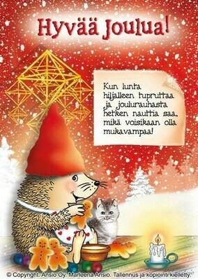 Joulukortti Marleena Ansio: siili