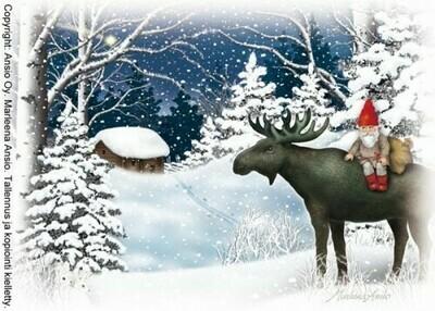 Joulukortti Marleena Ansio: tonttu metsässä