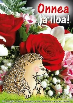 Kortti Marleena Ansio: siili ja kukat