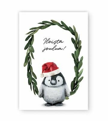 Joulukortti Pipsa-pingviini