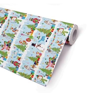 Joulupaperi talven ystävät - ISO RULLA 165m - L 38cm
