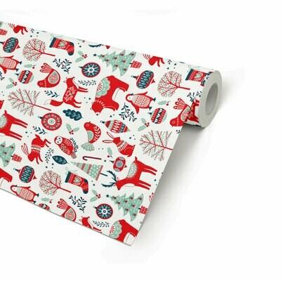 Joulupaperi joulueläimet - ISO RULLA 165m - L38cm