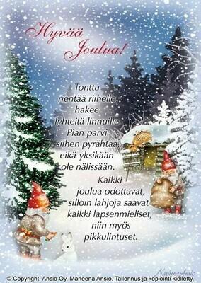 Joulukortti Marleena Ansio: metsän tontut