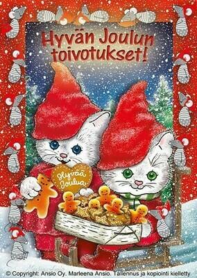 Joulukortti Marleena Ansio: kissat ja joulupiparit