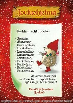 Joulukortti Marleena Ansio: siilin joulu
