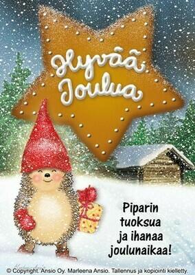 Joulukortti Marleena Ansio: siili lahjan kanssa