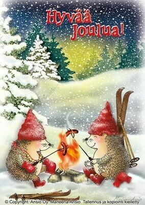 Joulukortti Marleena Ansio: siilit nuotiolla