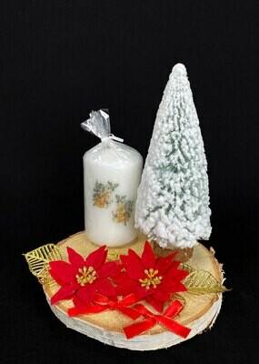 Luminen kuusi + kynttilä asetelma