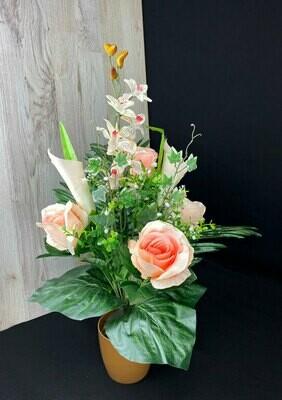 Tekokukkakimppu ruusu&kalla, aprikoosi