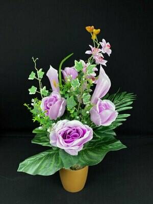 Ruusu-kalla kimppu, vaalea lila