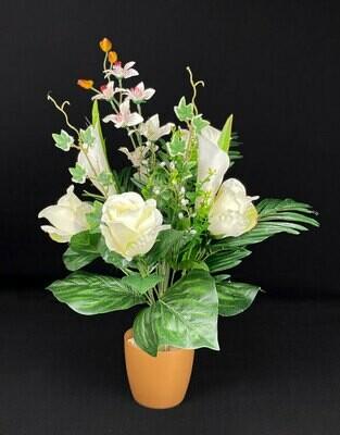Tekokukkakimppu; ruusu&kalla, kerma