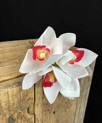 Orkideakimppu, valkoinen/viininpunainen
