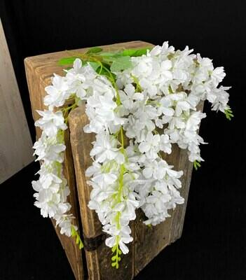 Valkoinen wisterian tekokukkaoksa