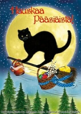 Pääsiäiskortti Marleena Ansio - musta kissa