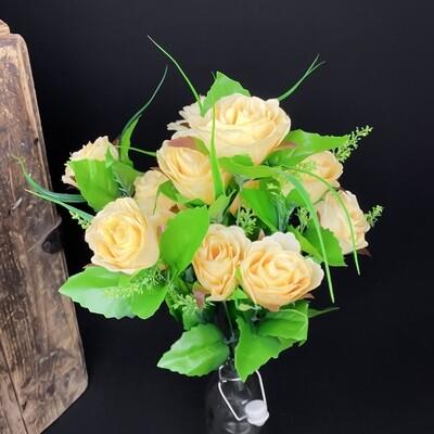 Ruusu tekokimppu, vaaleankeltainen