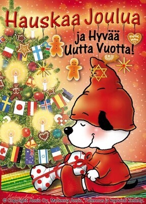 Joulukortti Marleena Ansio: suloinen koira