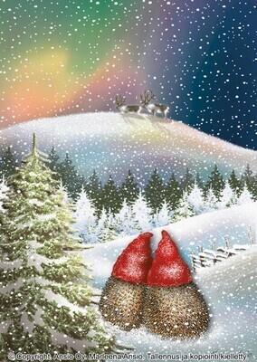 Joulukortti Marleena Ansio: revontulimaisema