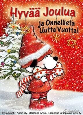 Joulukortti Marleena Ansio: koira lahjan kanssa