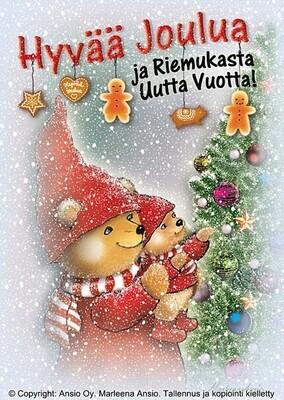 Joulukortti Marleena Ansio: nallet joulukuusen koristelupuuhissa