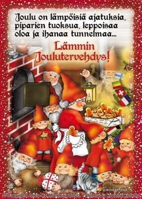 Joulukortti Marleena Ansio: tonttuperhe puuhissa