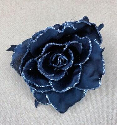 Musta ruusu kukkapää + hopea kimalle