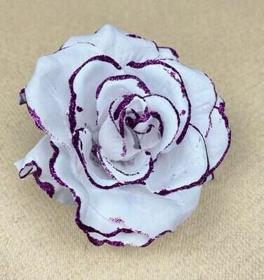 Kimalleruusu kukkapää, valkoinen/violetti